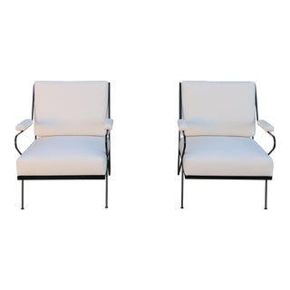 Canvas Upholstery Pair of Modern Wrought Iron Lounge Chairs