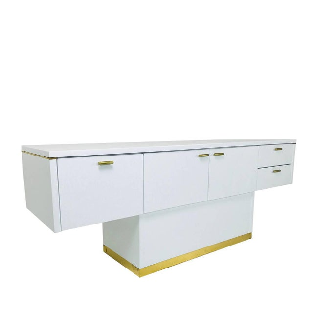 White Lacquered T-Console/Sideboard With Brass Accents For Sale - Image 8 of 8