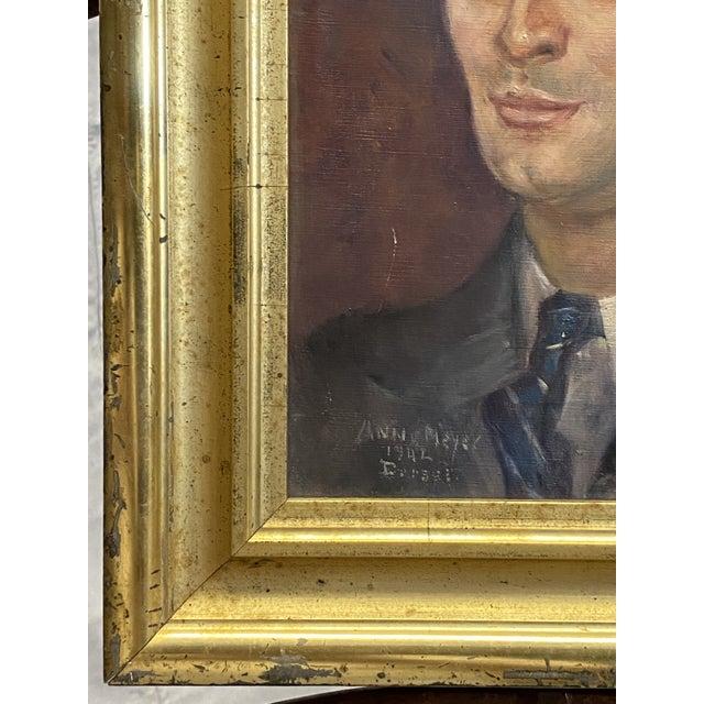 Red Vintage Signed Oil on Canvas Portrait of a Handsome Man Gilt Gold Frame 1942 Painting For Sale - Image 8 of 10