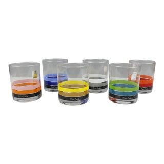 Set of 6 Vintage Pierre Cardin Lowball Cocktail Glasses Stripes Mid Century For Sale