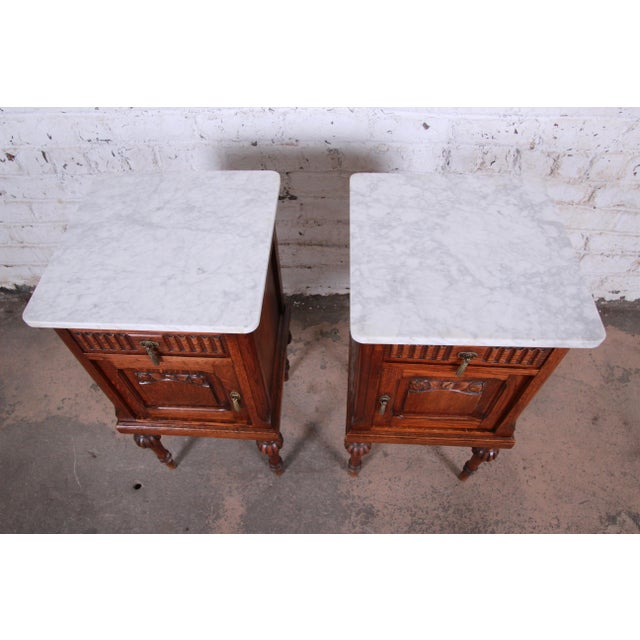 19th Century Victorian Carved Oak Marble Top Nightstands - a Pair For Sale - Image 4 of 13