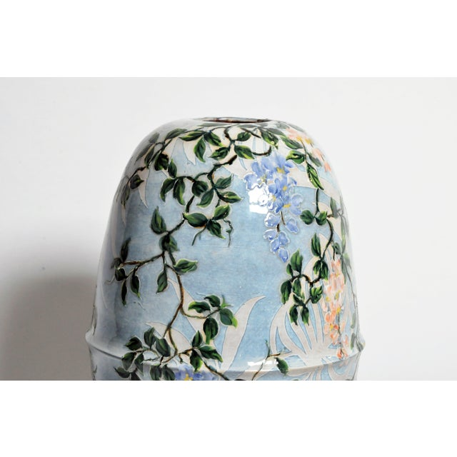 Asian Asian Modern Hand Painted Ceramic Vase For Sale - Image 3 of 6