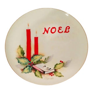 Hand Painted Porcelain Noel Plate For Sale