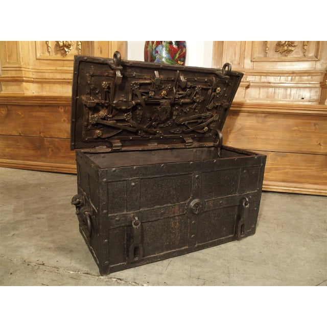 This beautiful hand made iron chest was made in Nuremburg or Ausberg in the 1600s. They were made to hold valuables such...