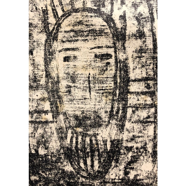 """Ruth Bannon Masked Man Portrait c.1960s Lithograph on paper 5.75""""x6.75"""" Came from a portfolio of her work"""