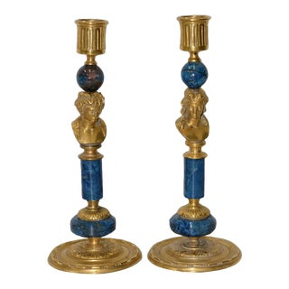 19th Century French Gilded Brass & Lapis Lazuli Candle Holders For Sale