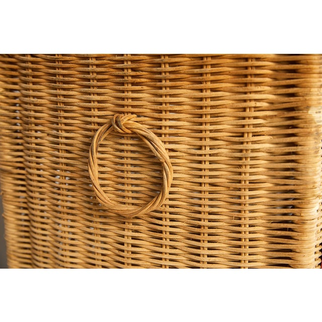 Red Vintage Schoolhouse Toy Box of Wicker For Sale - Image 8 of 11