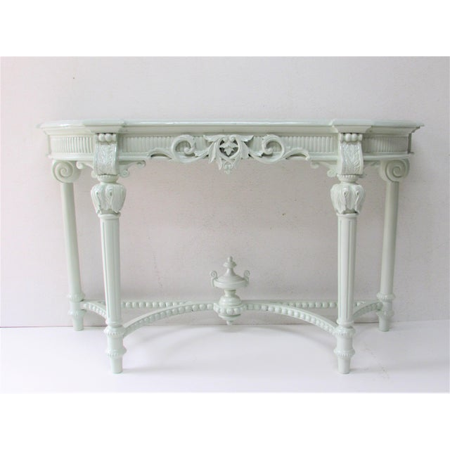 Green French Louis XV Style Lacquered Console Table For Sale - Image 8 of 8