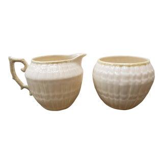 Vintage Late 1980's Irish Belleek Porcelain Neptune Pattern Sugar Bowl and Creamer Set For Sale
