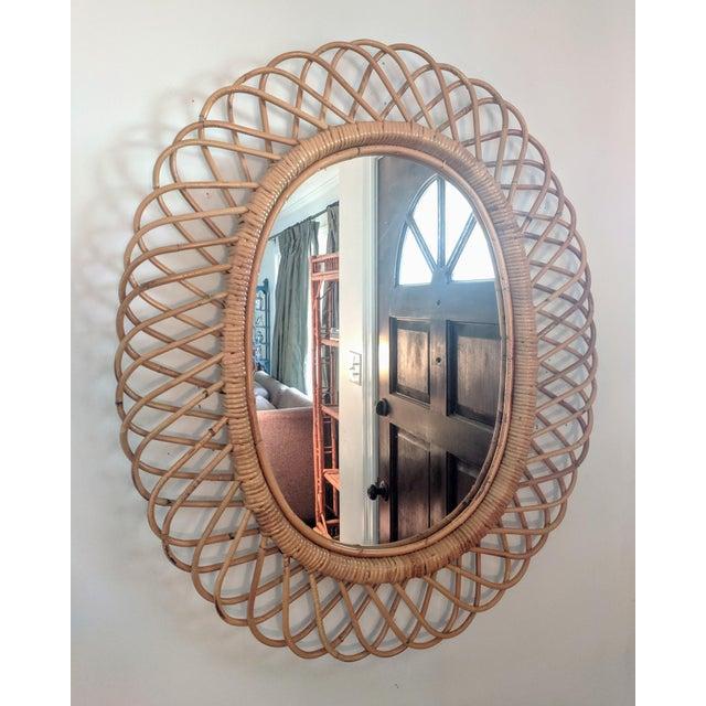 Rosenthal Netter Italian Rosenthal Netter Coiled Wicker Oval Mirror For Sale - Image 4 of 8