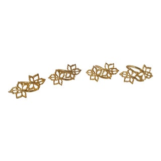 Vintage Gold Metal Leaf Design Napkin Rings - Set of 4 For Sale