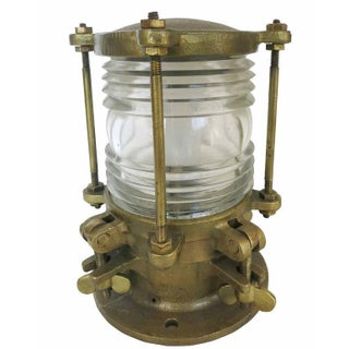 Bronze Piling Nautical Dock Light with Fresnel Lens For Sale