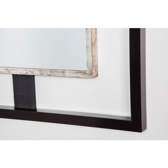 Paul Marra Paul Marra Negative Space Mirror with Distressed Silver Inner Frame For Sale - Image 4 of 5
