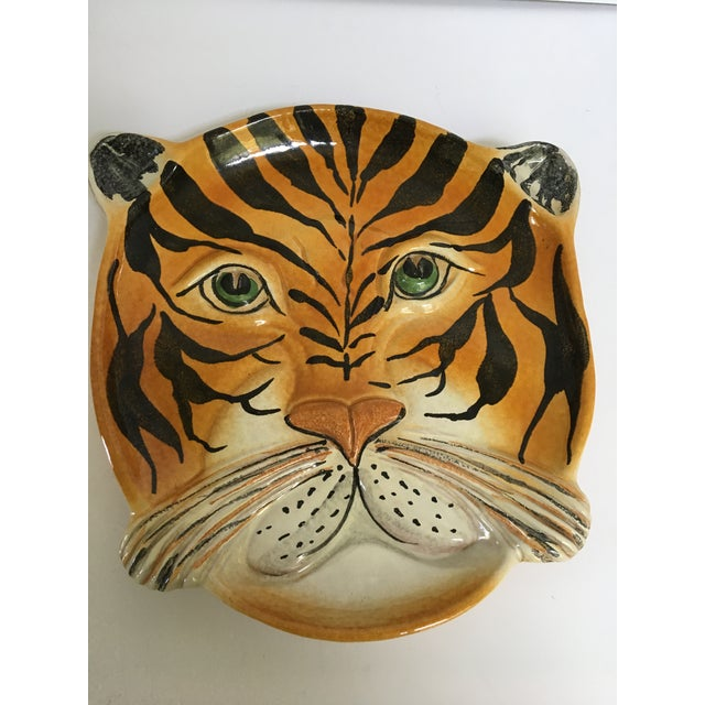 Mid Century Italian Hand Painted Striped Tiger Platter For Sale - Image 12 of 13