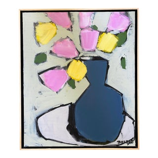 """""""Blue Vase: Pink and Yellow Blooms"""" Contemporary Abstract Framed Floral Painting by Sarah Trundle, Framed For Sale"""
