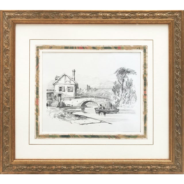 19th Century French Country Landscape Drawing 1847 For Sale