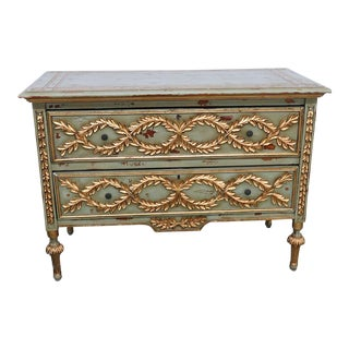 Neoclassical Style Distressed Painted Commode For Sale