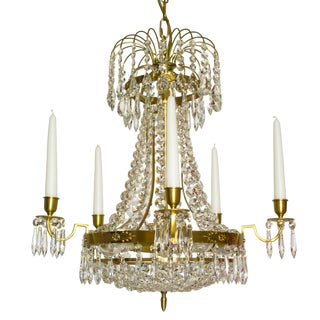 Empire Crystal Chandelier in amber coloured brass with a basket of crystal octagons (width 48cm/18.9 inches)