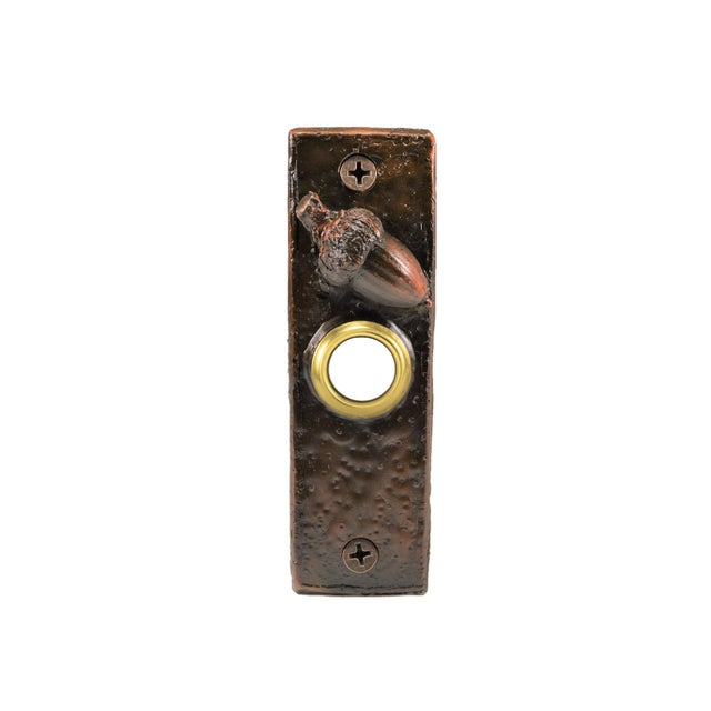 Cabin Slim Acorn Doorbell, Traditional Patina For Sale - Image 3 of 4