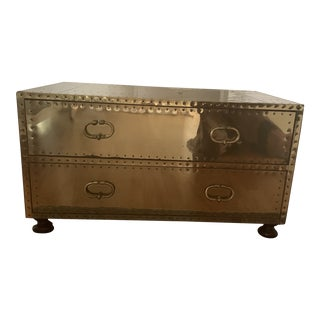 1970s Vintage Sarreid Brass Trunk With 2 Drawers Coffee Table For Sale