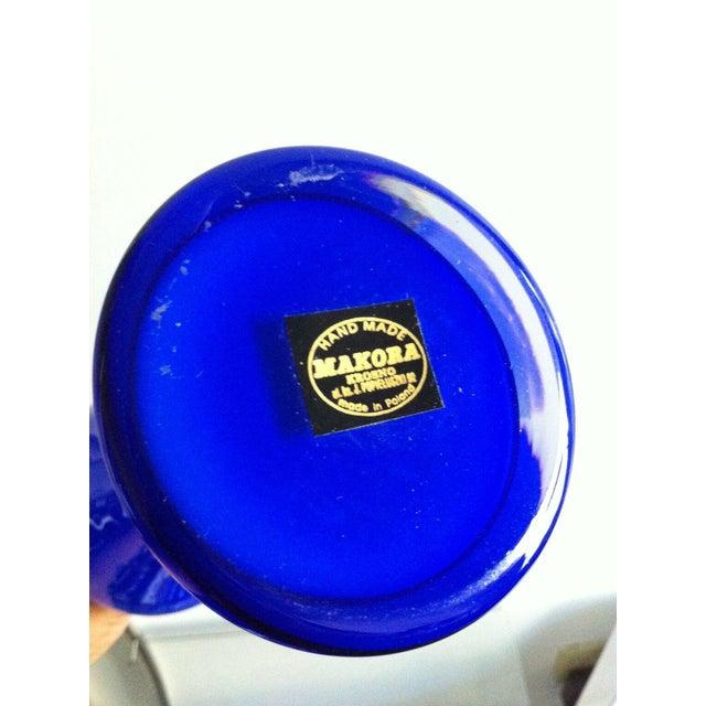 Makora Handblown Glass Curvy Cobalt Vase For Sale - Image 5 of 5