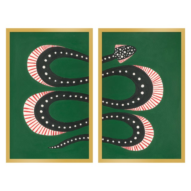 "Contemporary Medium ""Zuccini the Snake, Set of 2"" Print by Willa Heart, 26"" X 20"" For Sale - Image 3 of 3"