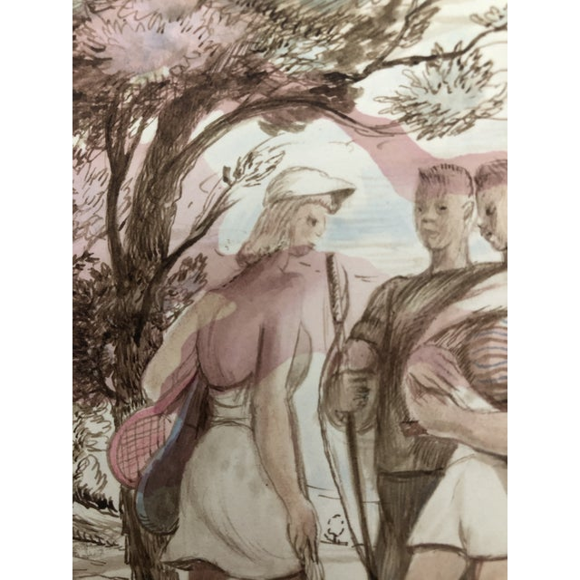 1940s Figurative Sporting Watercolor by William Palmer, 1940 For Sale - Image 5 of 7