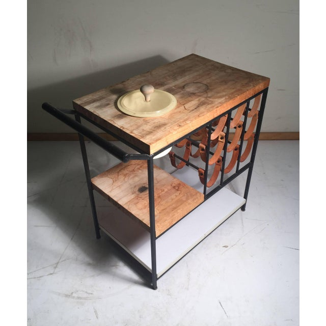 Arthur Umanoff Arthur Umanoff Bar Cart With Wine Rack and Butcher Block For Sale - Image 4 of 9