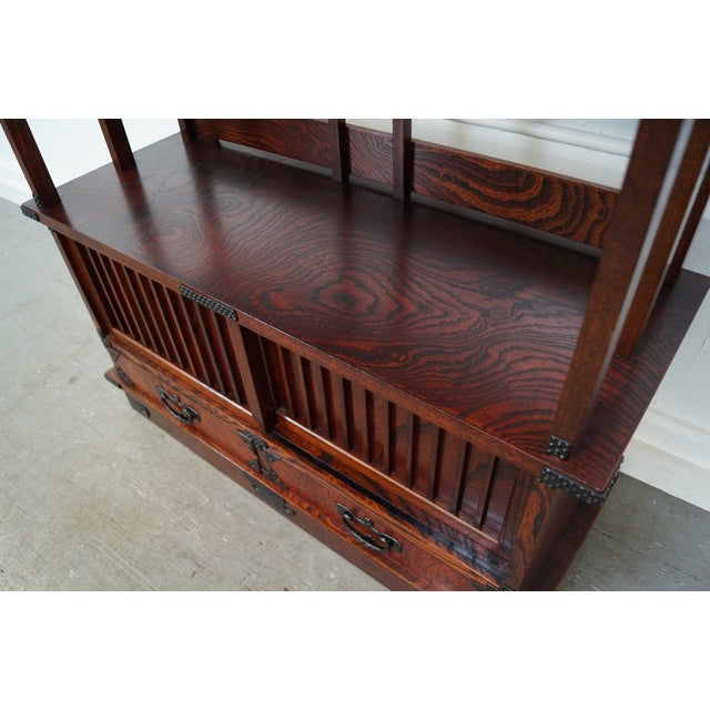 Brown Chinese Arts & Crafts Red Elm Wood Narrow Console For Sale - Image 8 of 10