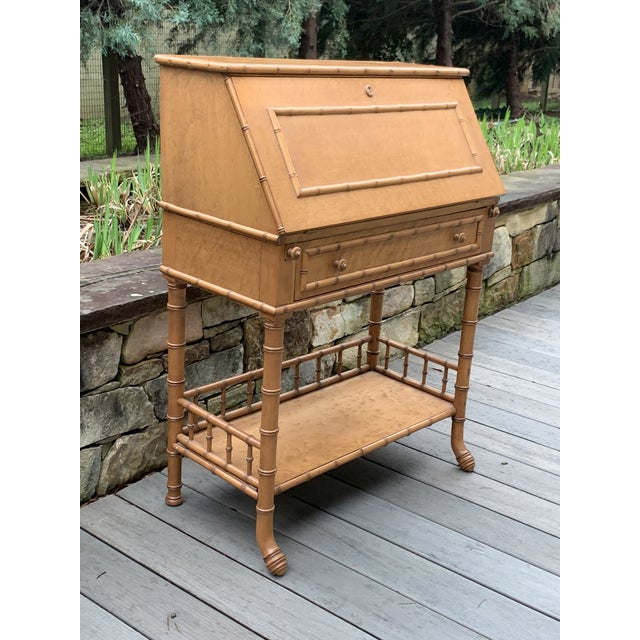 Traditional Antique Birds Eye Maple Faux Bamboo Secretary Desk For Sale - Image 3 of 11