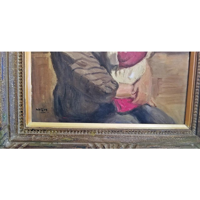 Hiyashi NoBuo Oil on Canvas - Nursing Mother For Sale In Dallas - Image 6 of 7