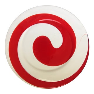 1970s Yalos Casa Red & White Spiral Glass Platter For Sale