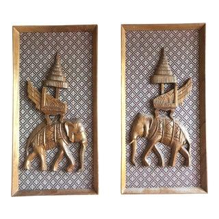 Raised Wood Elephant Wall Art - a Pair For Sale