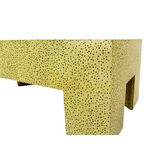Heavy Large Legs Mid Century Modern Geometric Coffee Table Dotted Pattern.