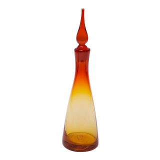 Mid-Century Blenko Amerbina Tangerine Decanter With Stopper by Winslow Anderson For Sale