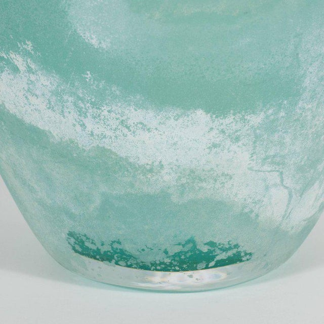 Glass Mid-Century Modern Scavo Finish Murano Glass Aquamarine Vase by Seguso of Italy For Sale - Image 7 of 9
