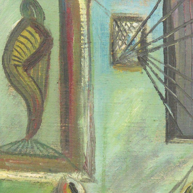 Canvas J. Blot France Modernist Interior With Spider Web Acrylic on Canvas Painting For Sale - Image 7 of 11