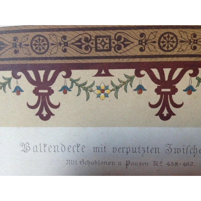 Decorative Ceiling German Chromo Lithograph - Image 5 of 5