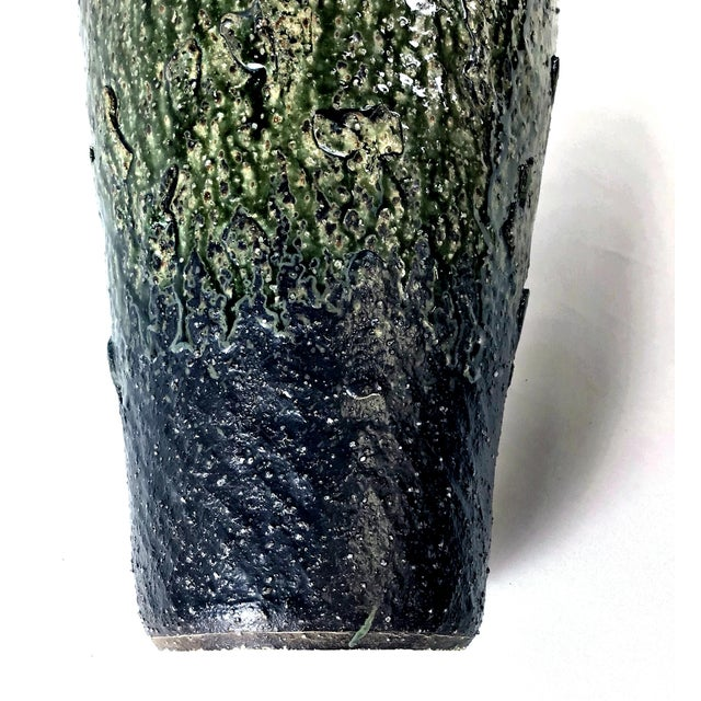 1980s Japanese Wood Fired Contemporary Textural Organic Vase For Sale - Image 5 of 9