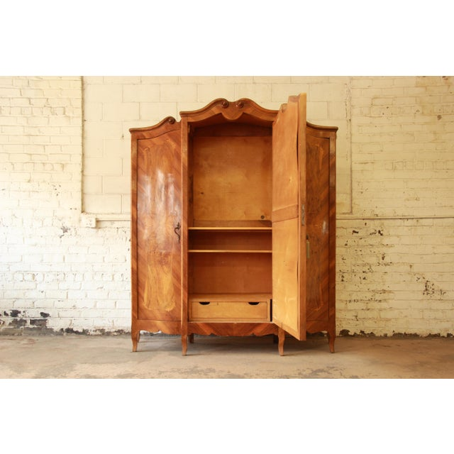 Late 19th Century 1870's Burled and Inlaid French Knockdown Wardrobe For Sale - Image 5 of 13