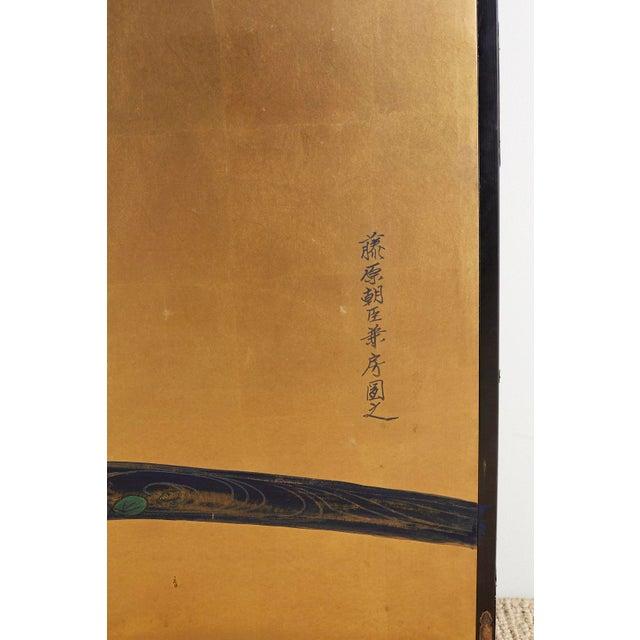 Japanese Six-Panel Meiji Screen of Egrets on Gold Leaf For Sale - Image 10 of 13