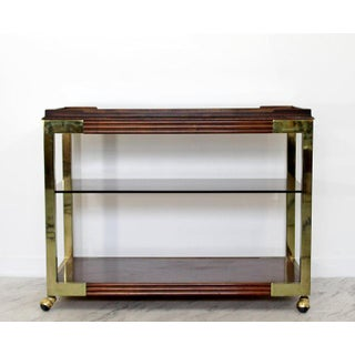 1950s Mid-Century Modern Drexel Heritage Brass Wood Smoked Glass Bar Cart Preview