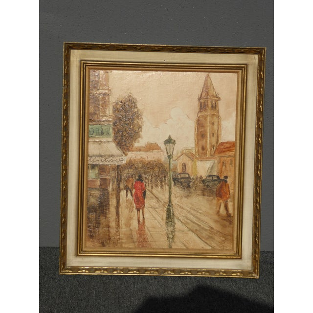 Vintage Mid-Century French City Scape Oil Painting Picture Gold Frame For Sale - Image 4 of 11