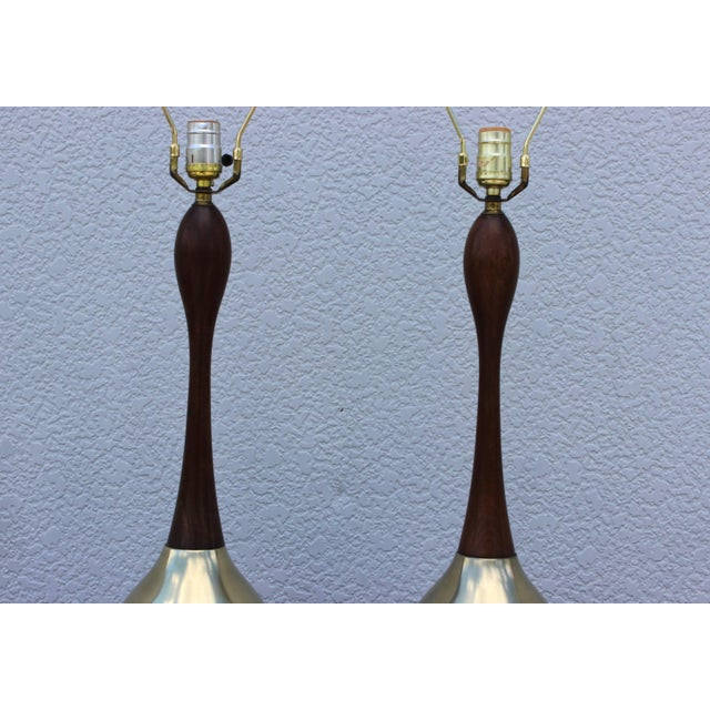 Tony Paul Brass and Walnut Table Lamps For Sale In New York - Image 6 of 11