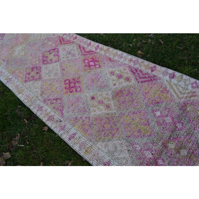 Textile Distressed Turkish Oushak Runner Rug 2.6 X 13.5 Ft For Sale - Image 7 of 13