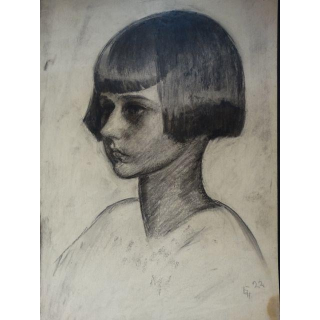 1920s Figurative Charcoal on Paper Drawing, Girl With a Bob by Ejnar Hansen For Sale - Image 4 of 4