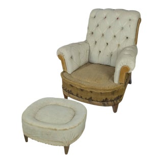 Large Tufted Armchair & Ottoman For Sale