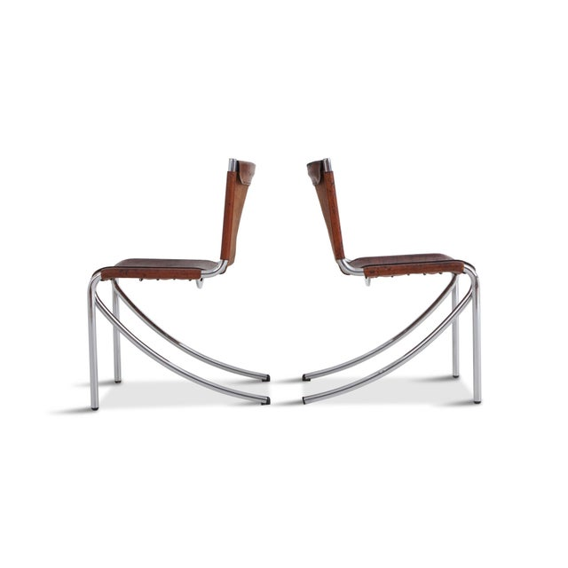 Mid-Century Modern Giotto Stoppino Patinated Red Leather and Chrome Vintage Dining Chairs Model Jot for Acerbis For Sale - Image 3 of 11