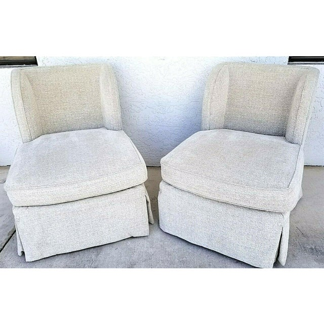 Contemporary Henredon Upholstery Collection Swivel Winged Slipper Lounge Chairs - Set of 2 For Sale - Image 3 of 12