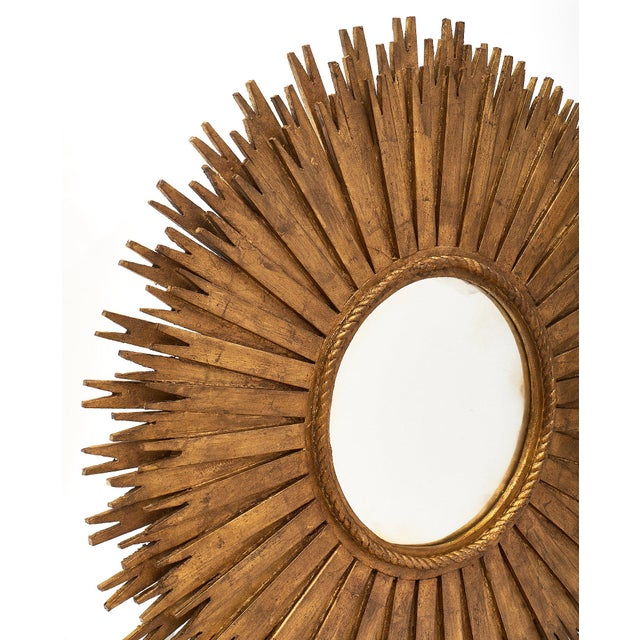 Gold 1960s Large Sunburst Mirrors - a Pair For Sale - Image 8 of 10